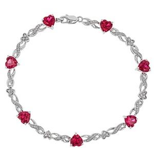 Zales LabCreated Ruby Rhodium Over Silver Bracelet